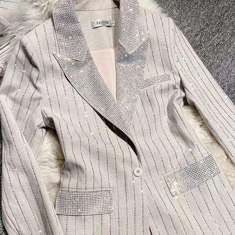 Women Shining Diamonds Blazer Single Button Ladies simple suit Spring Autumn High Street Blazer Coat