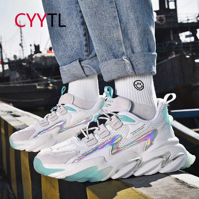 CYYTL Boys Fashion Sneakers Casual Breathable Walking Shoes Sport Men's Lace up Tennis Workout Heighten Youth Basket Trainers