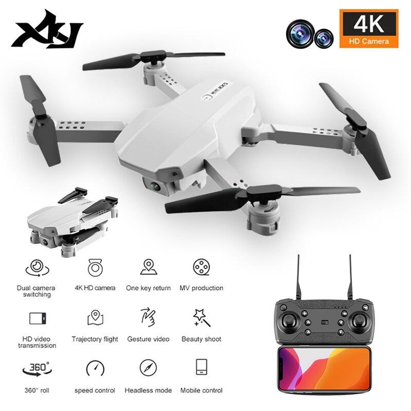 Xkj novo kk5 rc drone 4k hd câmera dupla wifi fpv uma-chave de retorno automático hold dobrável quadcopter controle remoto zangão brinquedo presente