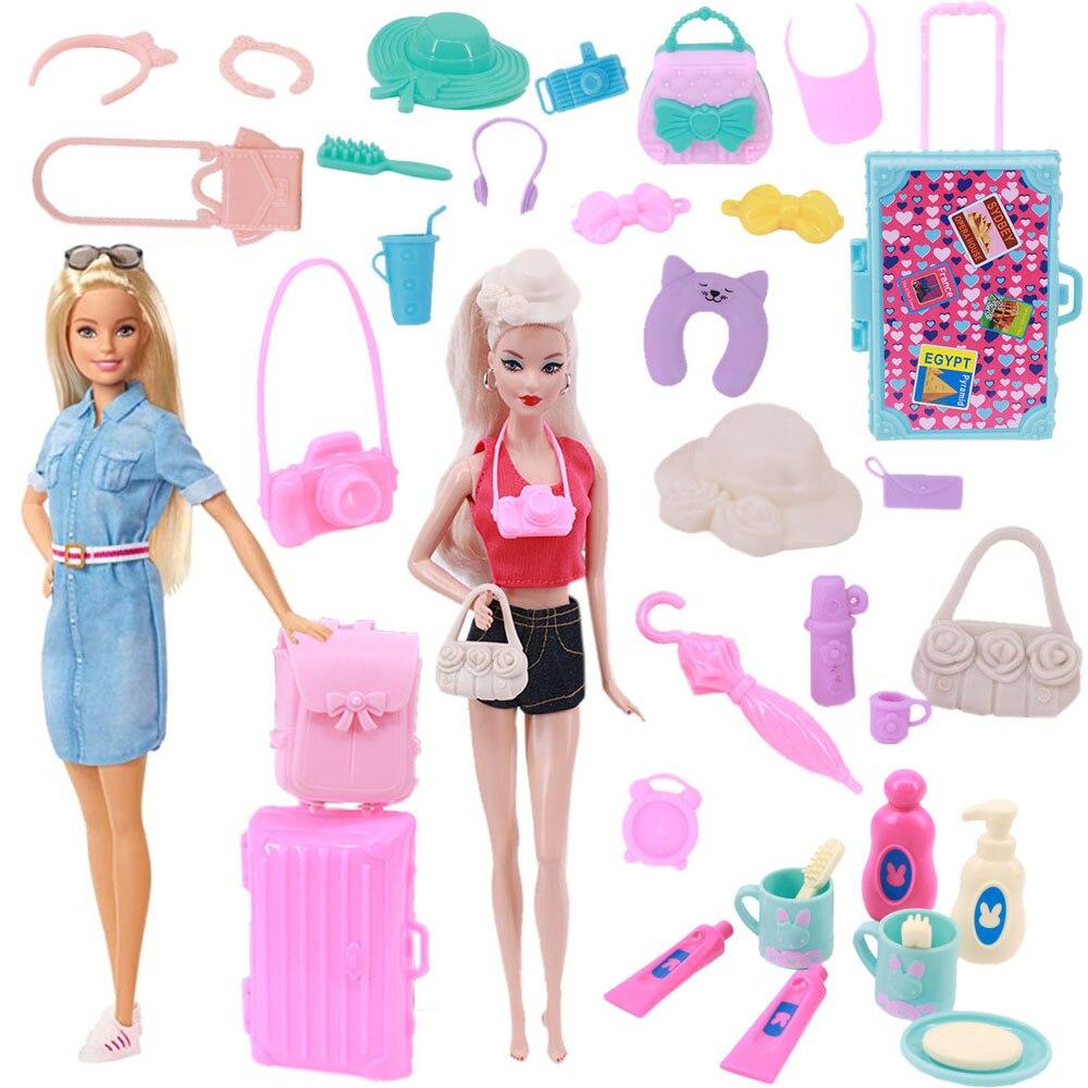 Пластиковый миниатюрный пакет, аксессуары для Барби, шляпа, чемодан, рюкзак, украшение для кукольного домика, заколка для волос, мебель для к...