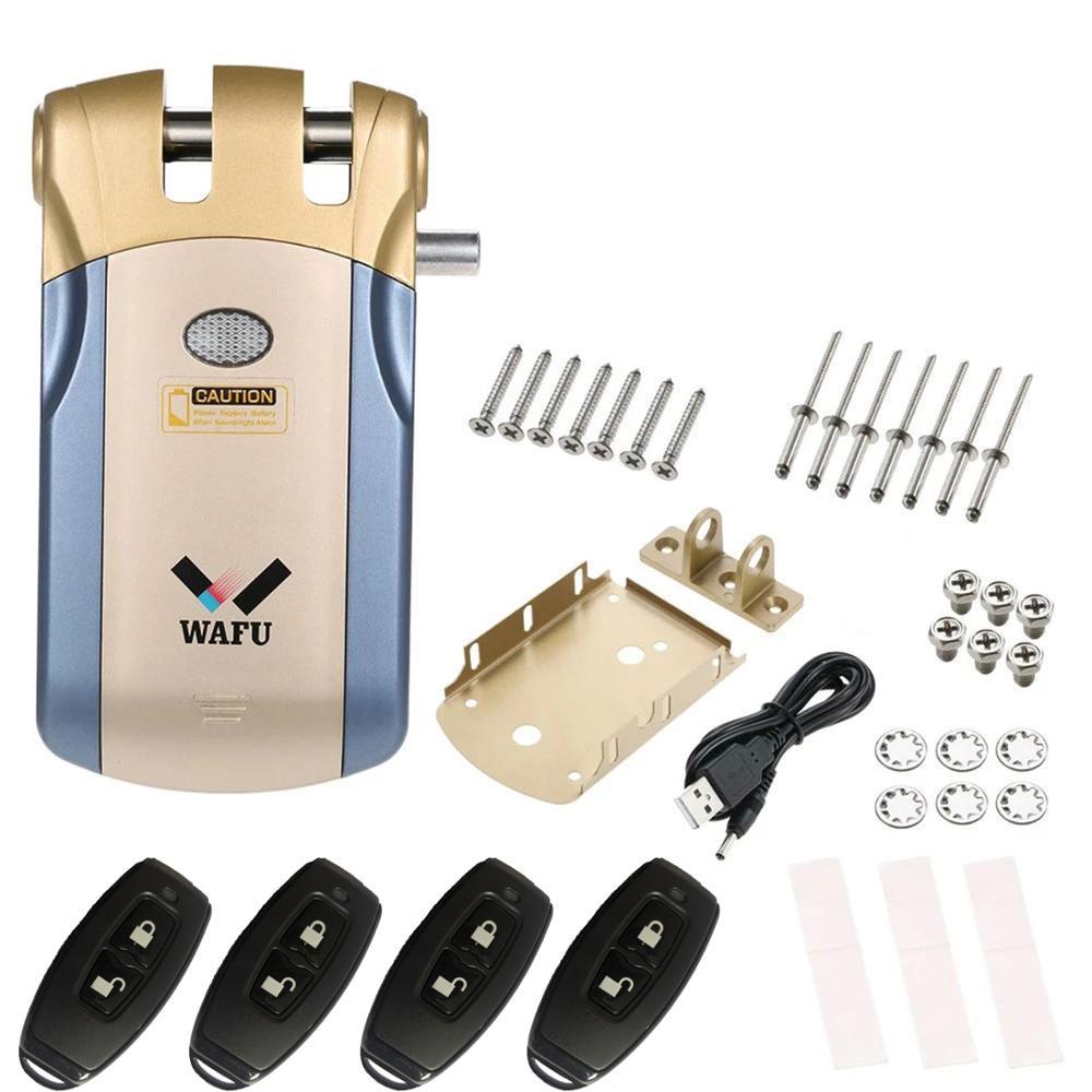 Wafu 018 قفل باب كهربائي لاسلكي للتحكم عن بعد فتح قفل ذكي باب أمان سهل التركيب ذكي الأمن فتح
