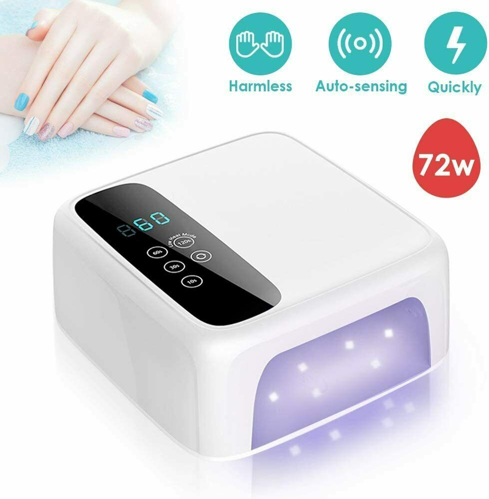 Lámpara de uñas LED de alta potencia de 120W, lámpara UV para curar esmalte de uñas de Gel UV con detección de movimiento, pantalla LCD, herramienta para manicura
