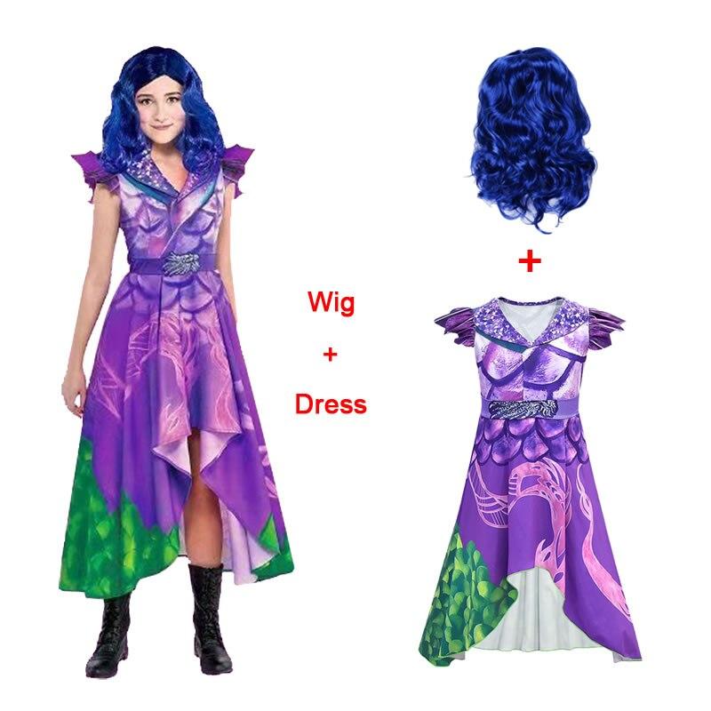 Disfraz de Descendants 3, vestido para niñas, Halloween, Año Nuevo, Mal Cosplay, peluca para niños, disfraz de Elza, Chico, ropa para ceremonia, 10 12