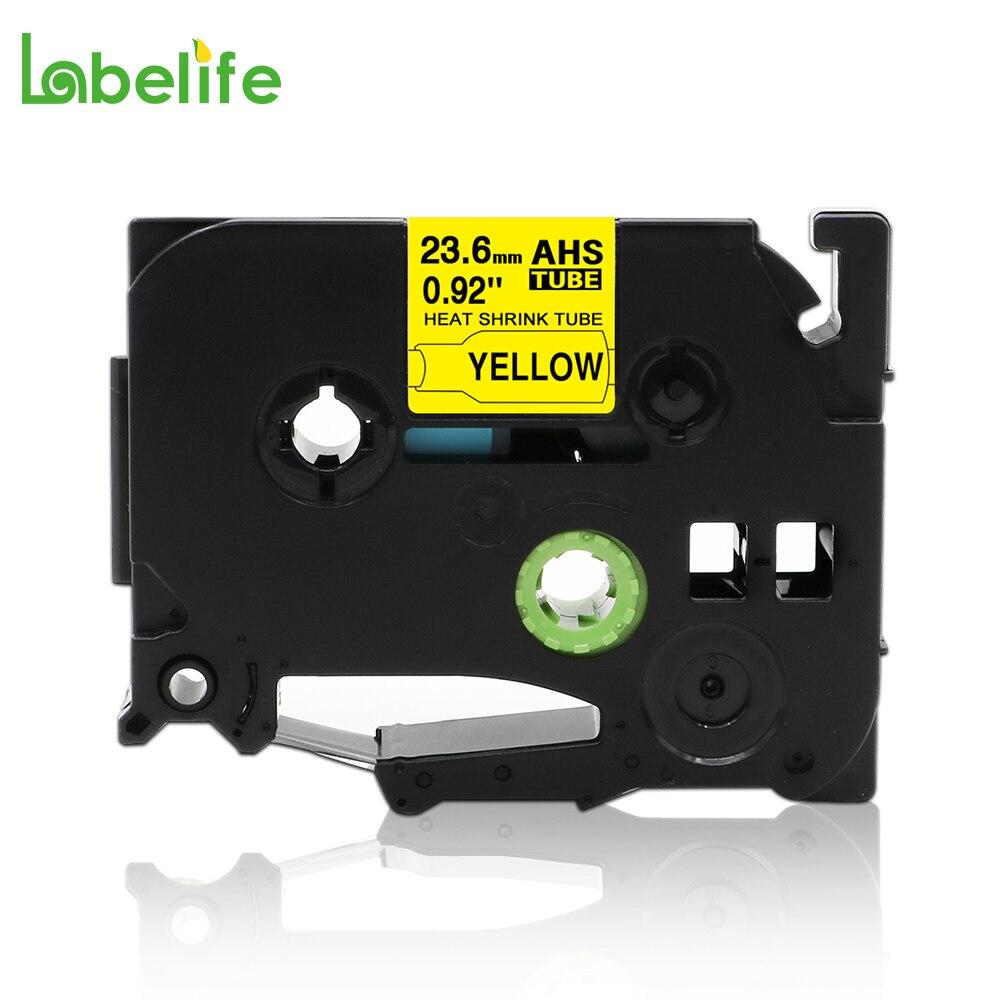 "HS651 HSE651 HSE-651 HS-651 23,6mm negro sobre amarillo 0,92 ""tubo de encogimiento de calor para hermano PT-E300 PT-E500 PT-E550W PT-P750WVP"