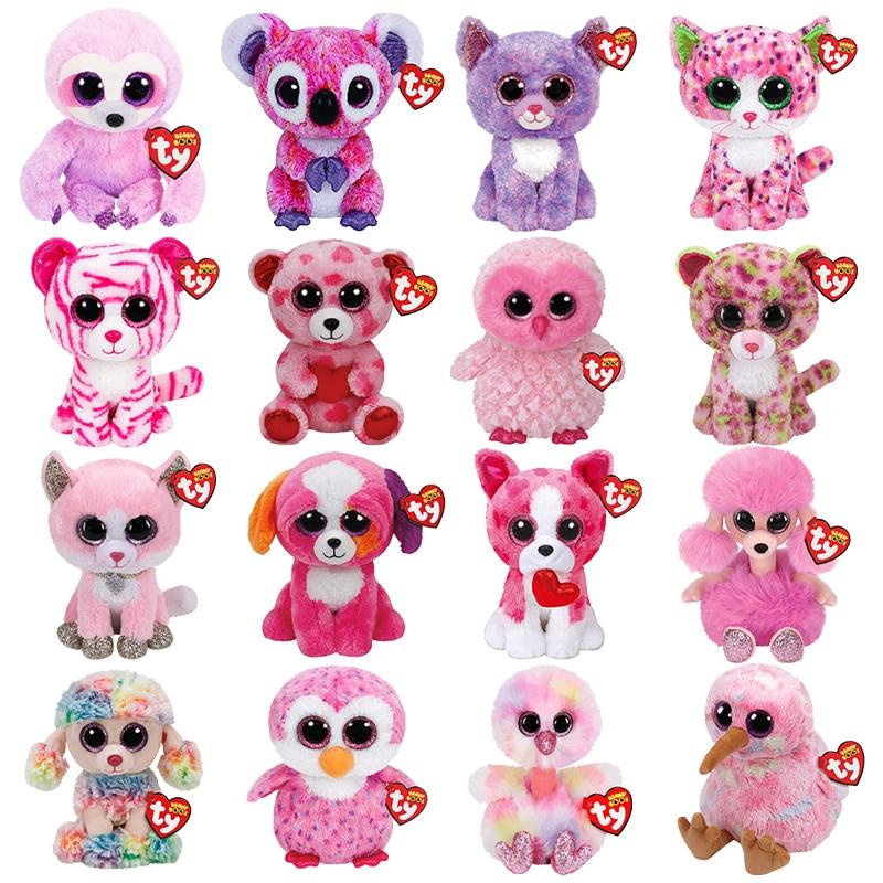 15 CM Pink Animal Series Ty Beanie Big Eyes Cute Cat Dog Bear Owl Koala Sloth Plush Toy Soft Stuffed Doll Boy Girl Lovely Gift new 6 15cm ty kipper the kangaroo plush stuffed animal collectible soft big eyes doll toy christmas gift