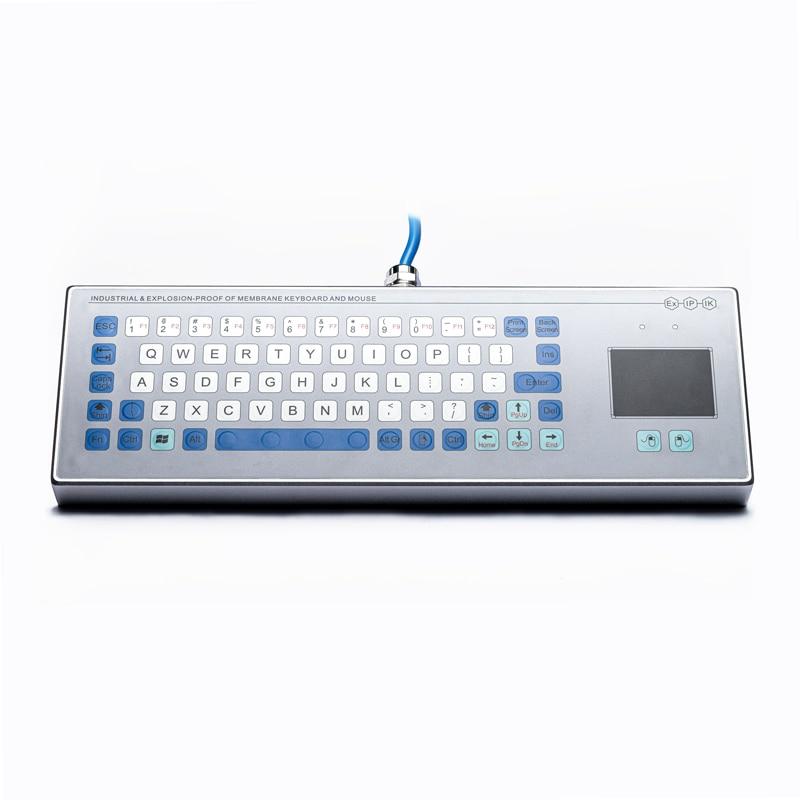 Custom Waterproof Sealed IP68 Desktop Industrial Explosionproof Membrane Keyboard with touchpad