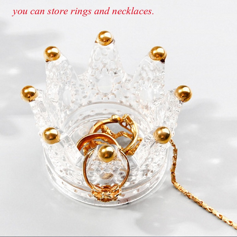 Creative Qutline In Gold glass crown candlestick embossed ring beauty egg tray put cosmetic egg shelf jewelry storage box