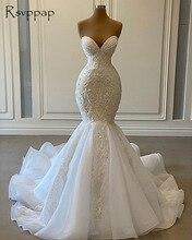 Sexy chérie sirène robes de mariée africaines 2020 luxe perlé broderie femmes blanc Organza robes de mariée