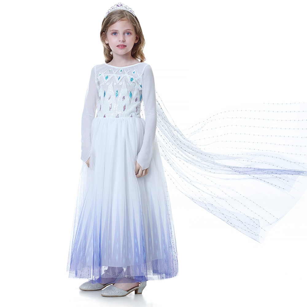Vestidos de flores para niñas disfraz de princesa Elsa Frozen blanco 2020