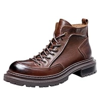 combat boots autumn winter ankle boots cowboy boots mens cowhide handmade fashion men boots genuine leather british retro