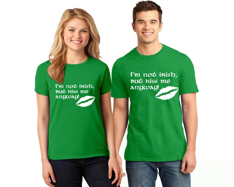1pc st.patricks day Matching Family Outfits Im not Irish kiss me anyway shape mouth Print family Tops Casual T Shirt Outfits