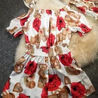 with money a new word shoulder garment divided s princess dress spring female printed cotton