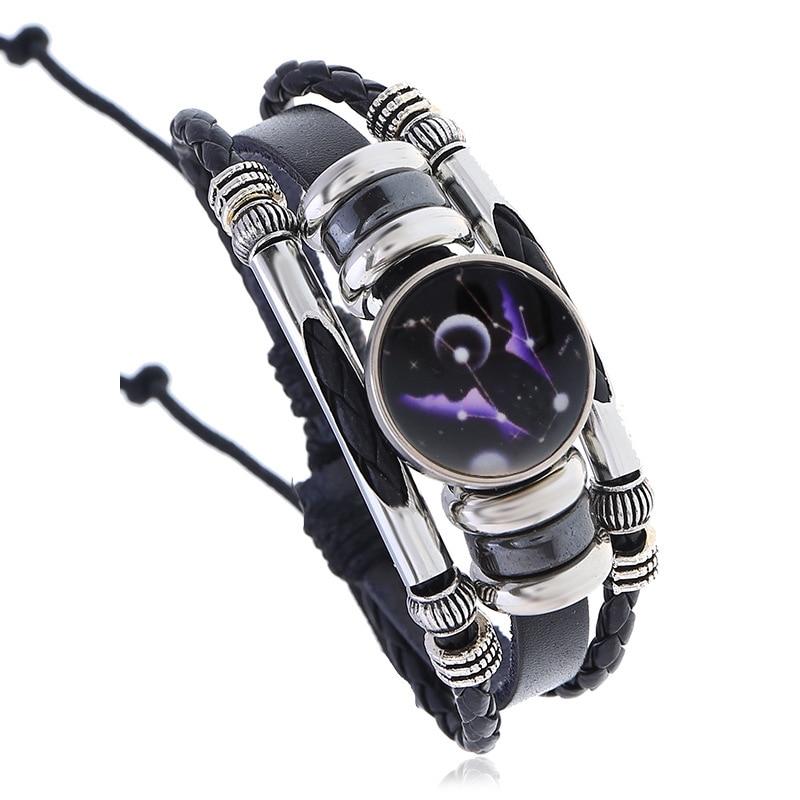 NIUYITID horóscopo, Zodíaco pulsera para Mujeres Hombres multicapa pulsera de cuero 12 constelación accesorios de la joyería