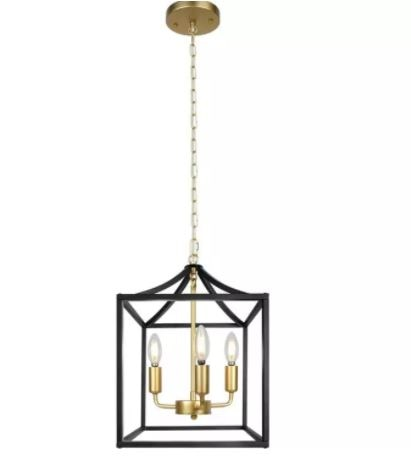 Modern simple living room study study dining room chandelier American retro iron industry four-head chandelier