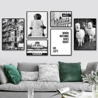 alpaca monkey newspaper car black white wall art canvas painting nordic posters and prints wall pictures for living room decor