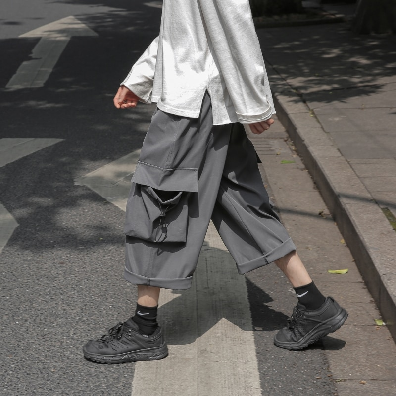 Loose Pants Mens Summer Straight Solid Color Cropped Pants Casual Japan Style Vintage Outdoor Ropa Para Hombre Shorts EB50DK