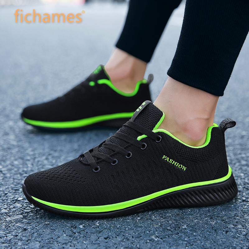 Zapatillas informales para hombre, zapatillas de verano de tela voladora Lac-up, ligeras, cómodas, transpirables, para caminar, de talla grande, novedad de 2019, de malla para hombre