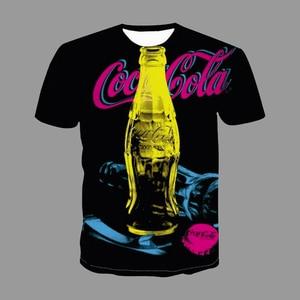 New Creativity Summer Men's T-Shirt Cola Drink Bottle 3d Print Short Sleeve Male Female Trending Tee Shirt Street Chic Clothes