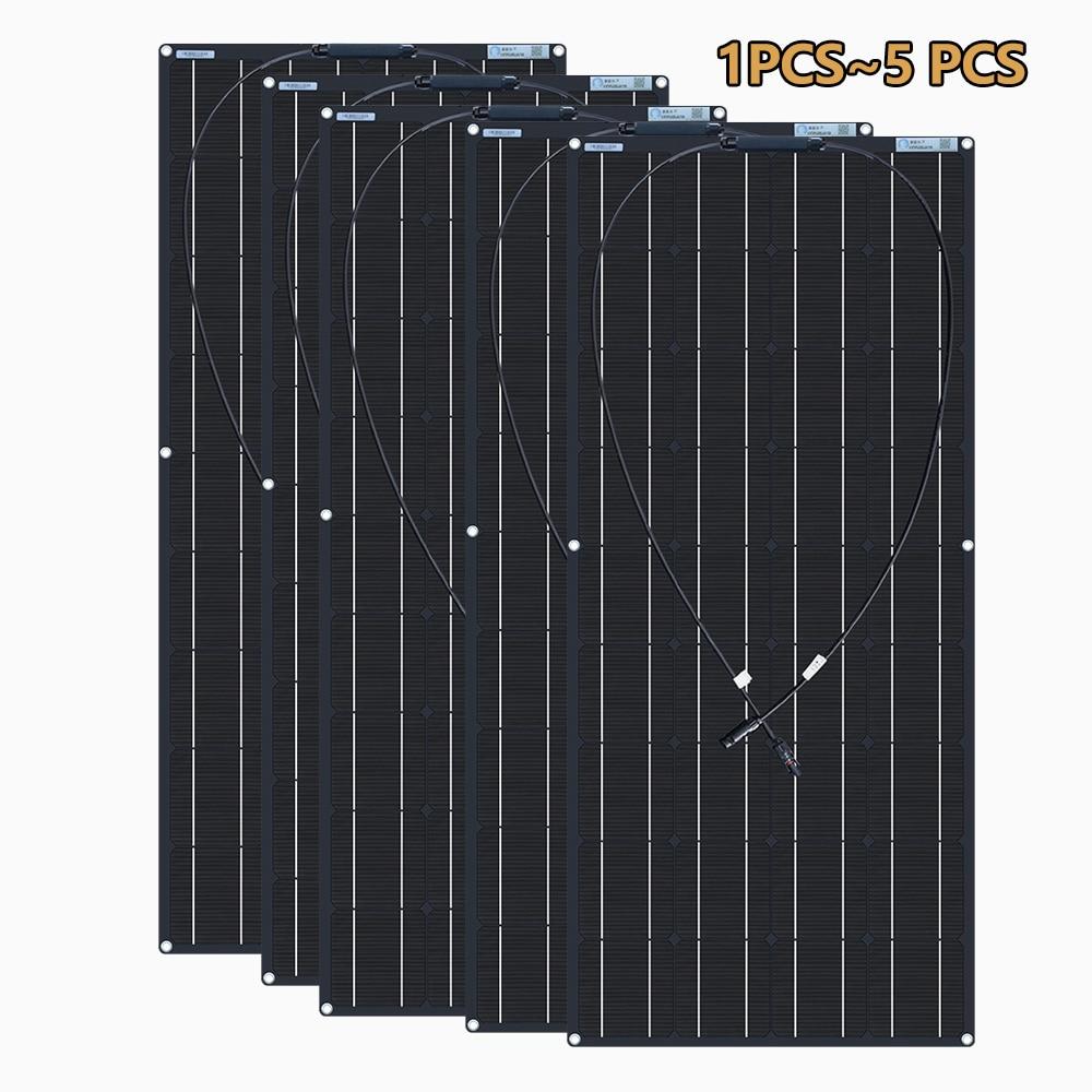 XINPUGUANG لوحة شمسية مرنة 12 فولت 1 قطعة ~ 5 قطعة 18 فولت 120 واط أسود 18 فولت 24 فولت 36 فولت 240 واط 360 واط 600 واط شاحن بطارية قارب سيارة منزل التخييم