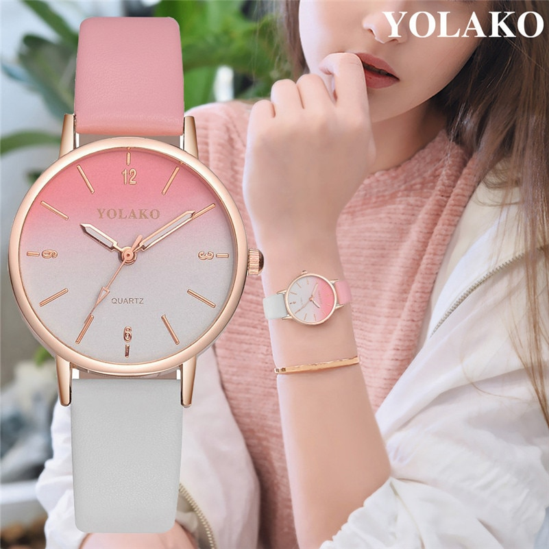 Luxury Women Watches Casual Leather Belt Round Quartz Wrist Watch Gradual Color Scale Convex Watch F