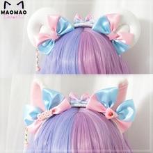 Hecho a mano Kawaii oveja gato moño para oreja cabeza Hoop Sweet Dream banda para el pelo de princesa sombreros sirvienta japonesa Lolita accesorios diadema KC