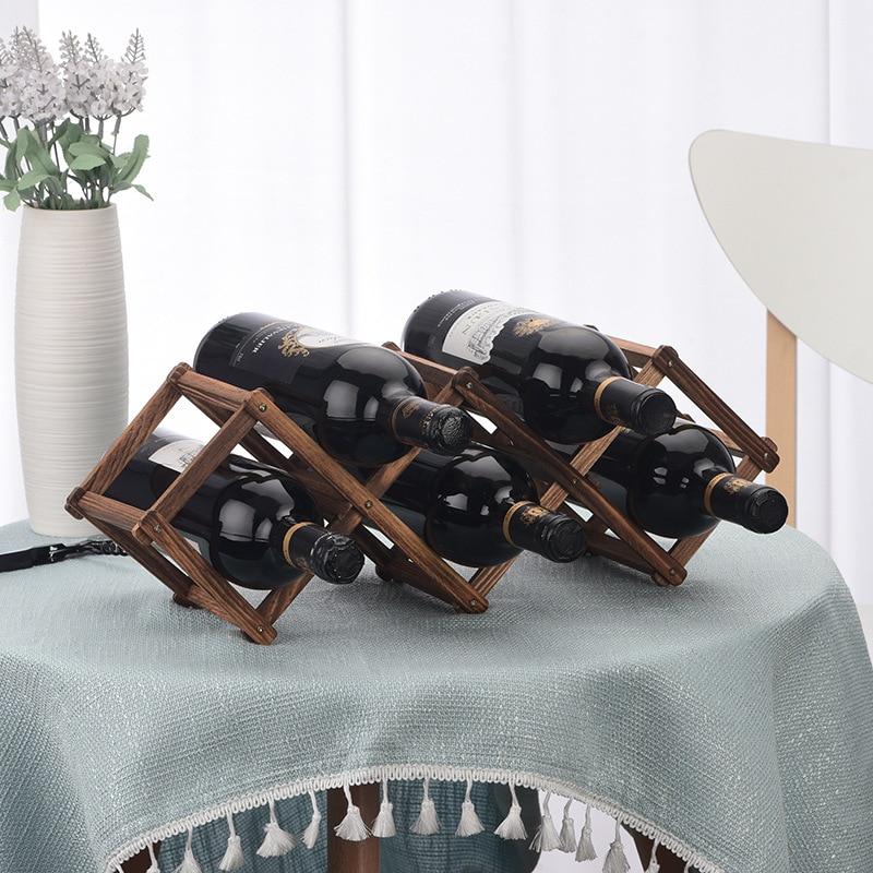 Estante de madera para vino tinto 3/6/10 botellero plegable de madera soporte de exhibición estante sólido Organizador de Exposición gran oferta