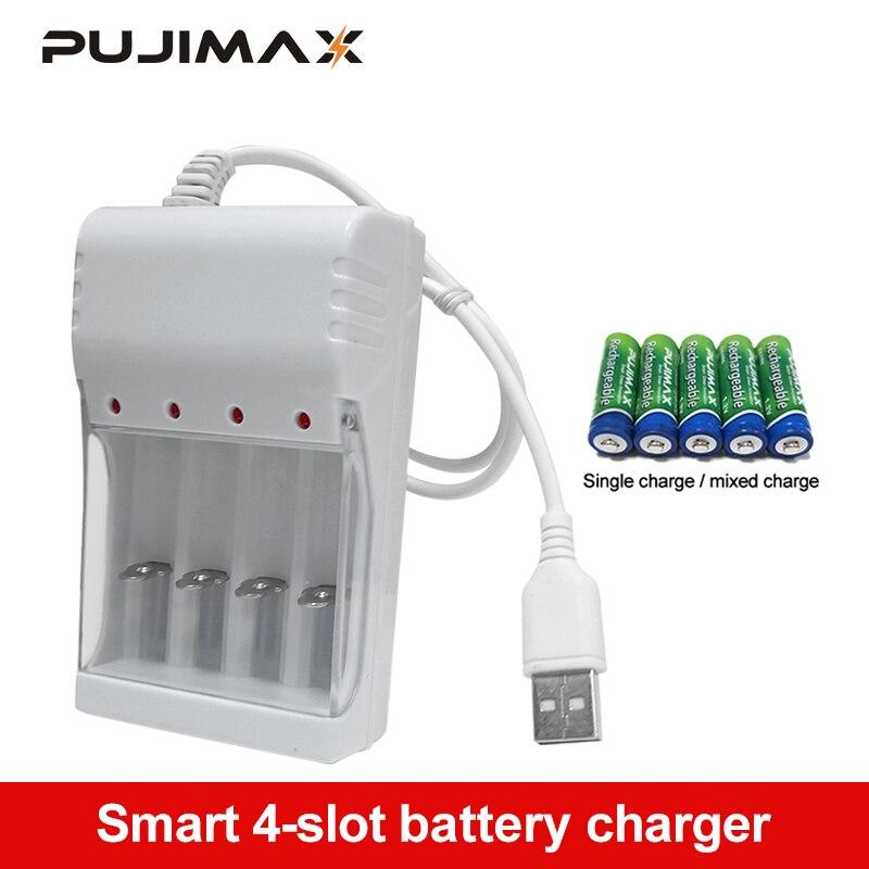 PUJIMAX Универсальный USB выход 4 слота зарядное устройство станция для AA/AAA батарея перезаряжаемая Быстрая Зарядка батарея Зарядка инструменты