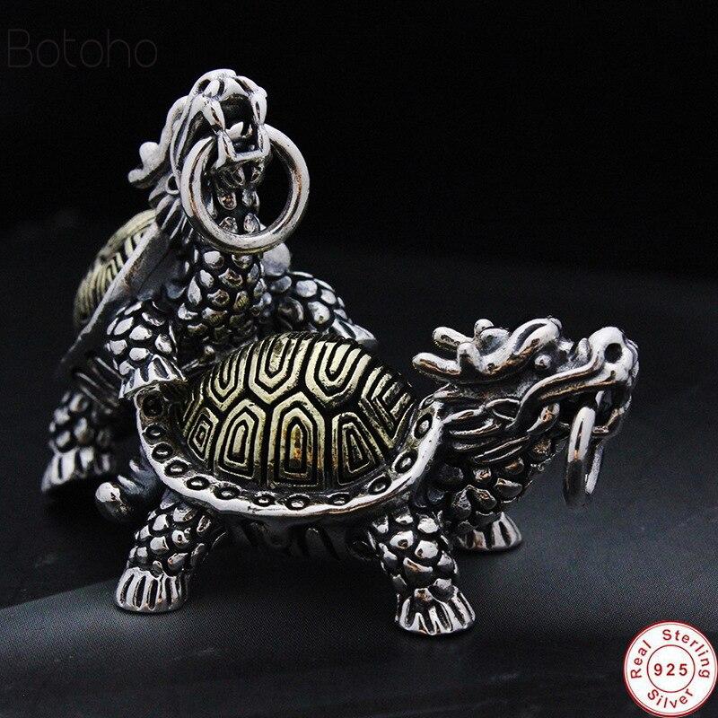 100% S925 joyería de plata de ley estilo clásico chino dragón cabeza tortuga macho y hembra 925 colgante entrega gratis