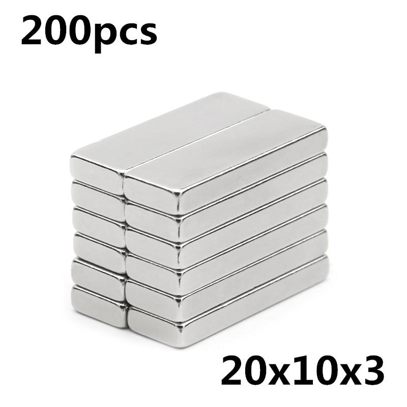 200 قطعة 20x10x3 مللي متر سوبر قوية كتلة طين نادر قوي ندفيب المغناطيس مغنطيس النيوديميوم F20 * 10*3 مللي متر