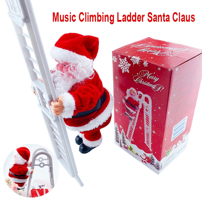 Music Electric Santa Claus Climbing Ladder Doll Xmas Decor Kid Gift 2021 Christmas Decorations For Home Merry Christmas Ornament недорого
