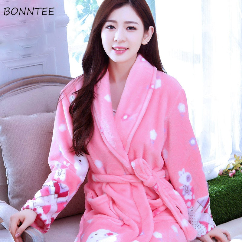 Albornoz mujer invierno ropa de dormir grueso Albornoz Mujer Flor franela kimono para dormir suave manga completa estampado de dibujos animados
