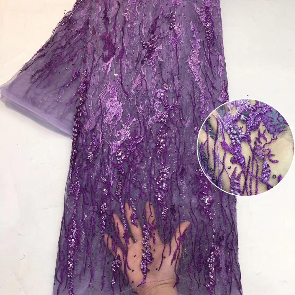 Hecho a mano encaje última tela africana de encaje bordado de alta calidad francés encaje red nigeriano telas para las mujeres ZFN002