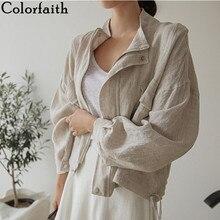 Colorfaith-nouveauté, été, automne 2020 col veste femme pochette, coton et lin, fermeture éclair, nouveauté décontracté, JK8196