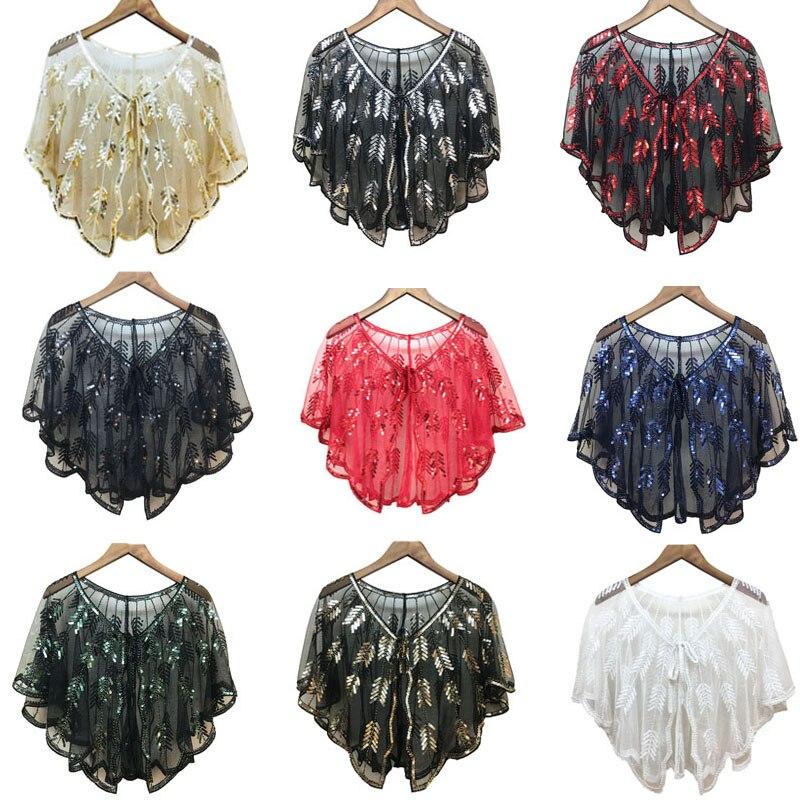 Vintage Sequin Summer Handmade Crochet Lace Mesh Shrug Bolero Embroidery Cardigan Feminino Short Cape Oversized Tops Women Cape