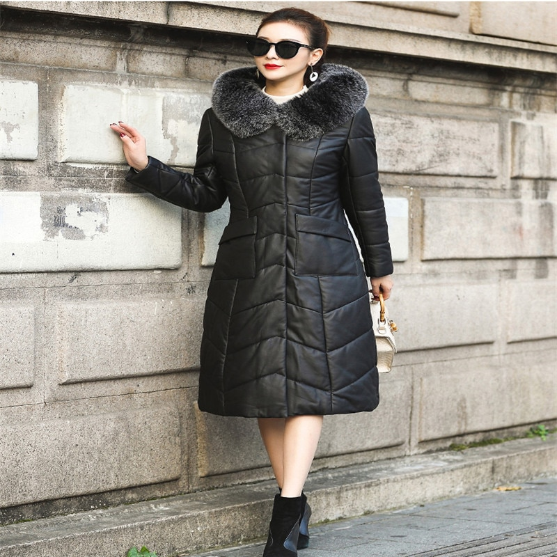 Leather Down Jacket Female Long Section 2020 New Slim Sheep Belt Cap Fox Fur Collar Female Big size High Quality Leather Jacket