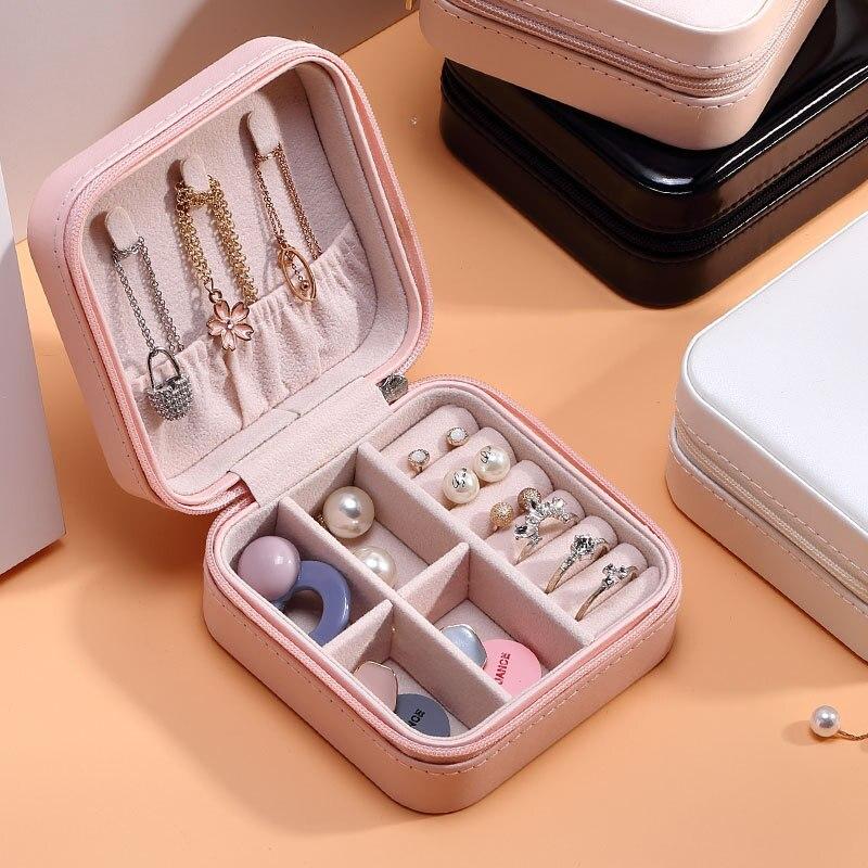 luluhut PU leather box for jewelry storage Travel jewelry case Portable Jewelry box Zipper leather storage organizer for jewelry