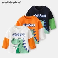 mudkingdom little boys t shirts cartoons dinosaur patchwork crew neck long sleeve casual undershirts for boy spring autumn tops