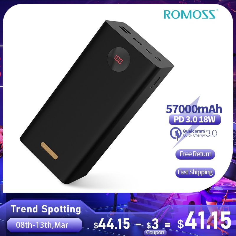 ROMOSS+PEA57+Power+Bank+57000mAh+SCP+PD+QC+3%2C0+Zwei-weg+Schnelle+Aufladen+Power+Typ-C+Externe+batterie+Ladeger%C3%A4t+F%C3%BCr+Huawei+iPhone