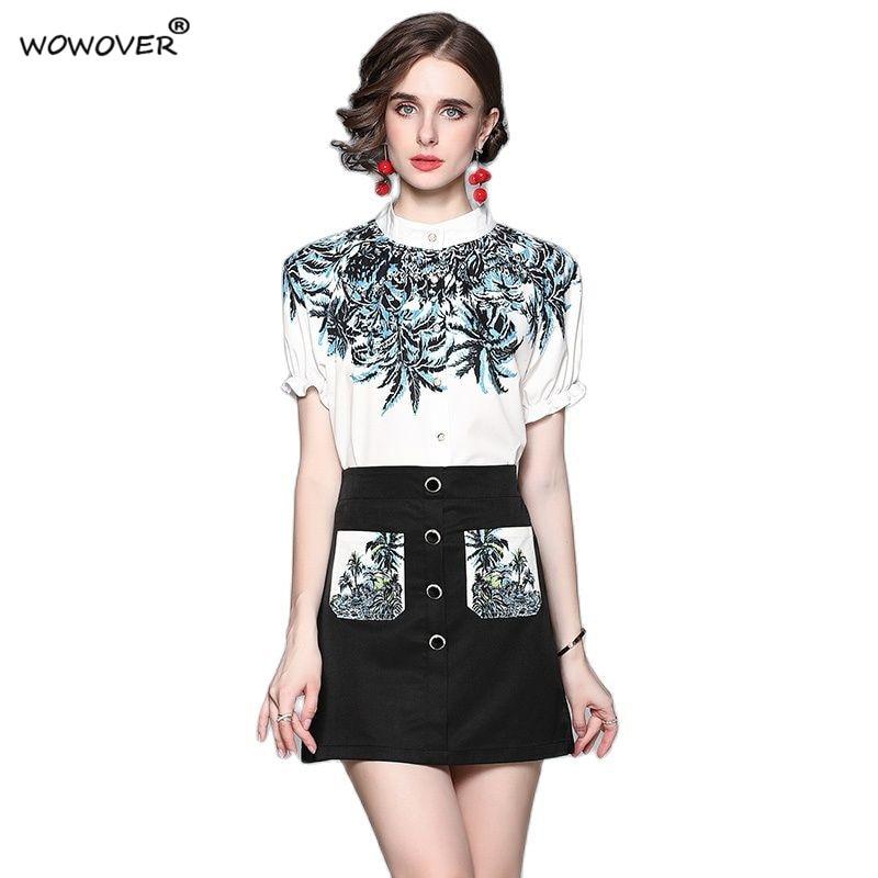 سيدة مصمم المدرج الصيف دعوى الموضة قصيرة الأكمام طباعة قميص أعلى و تنورة امرأة مجموعة 2 قطعة عادية مكتب عطلة الزي
