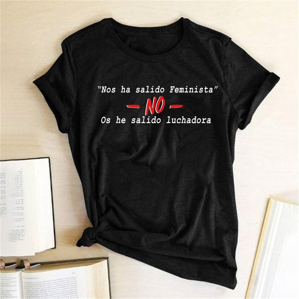 Camiseta con letras impresas para mujer, camiseta femenina con estampado FEMINISTA, camiseta informal holgada de verano para mujer