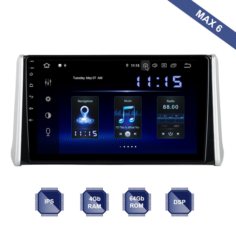 Android 9,0 Car Radio GPS Navi para Toyota RAV4 2018 2019 RAV 4 PX6 DSP IPS HDMI 4Gb + 64Gb RDS WIFI BT USB AUX mapa Carplay TPMS