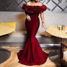 Longue sirène Sexy épaules nues Robes de soirée femmes soirée moulante dames africaines bal élégant 2020 été robe bleue Maxi Robes