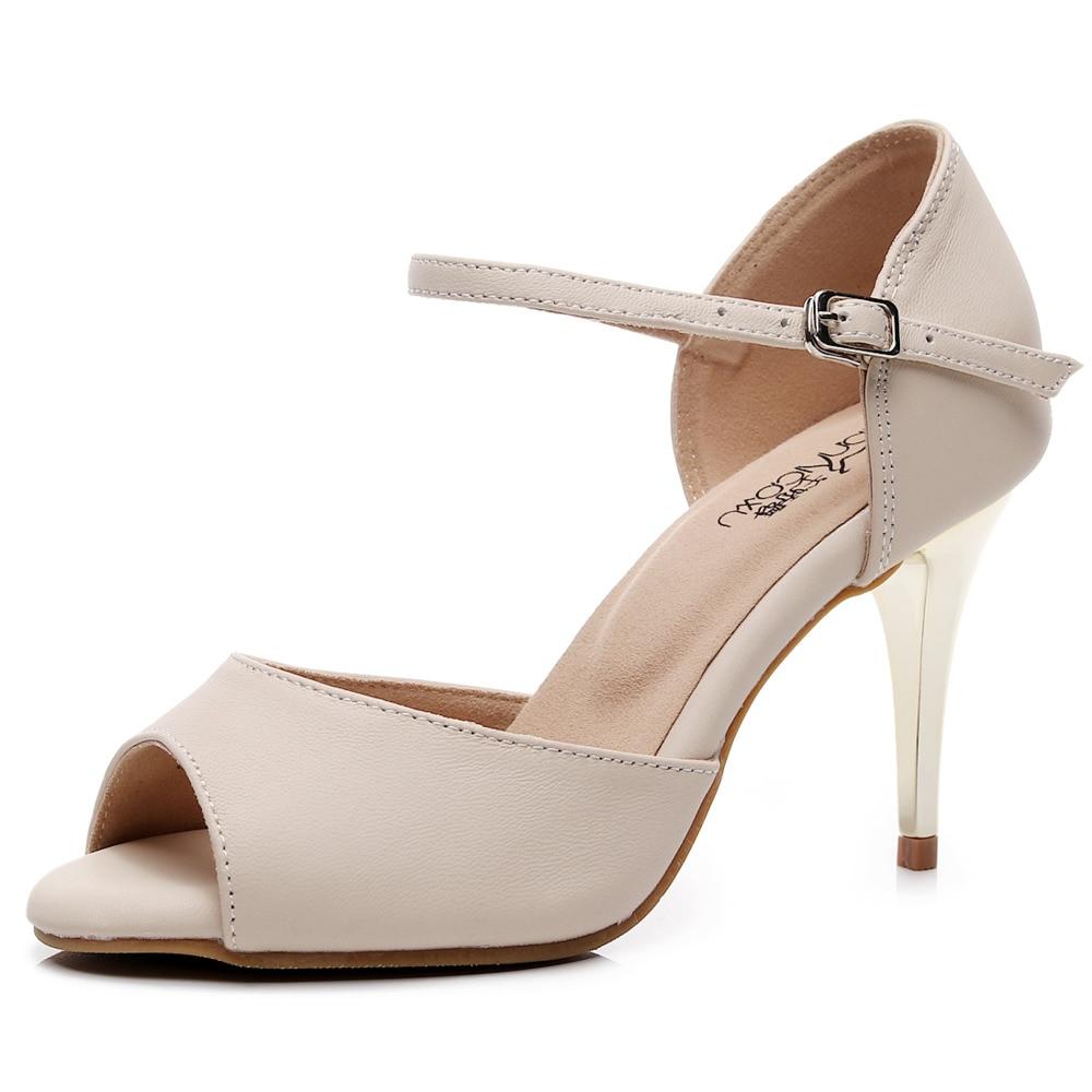 Hot Selling Salsa Jazz Tango Outdoor Indoor Urban Latin Dance Shoes for Women Dancing Girl Stylish High Heel Genuine Leather