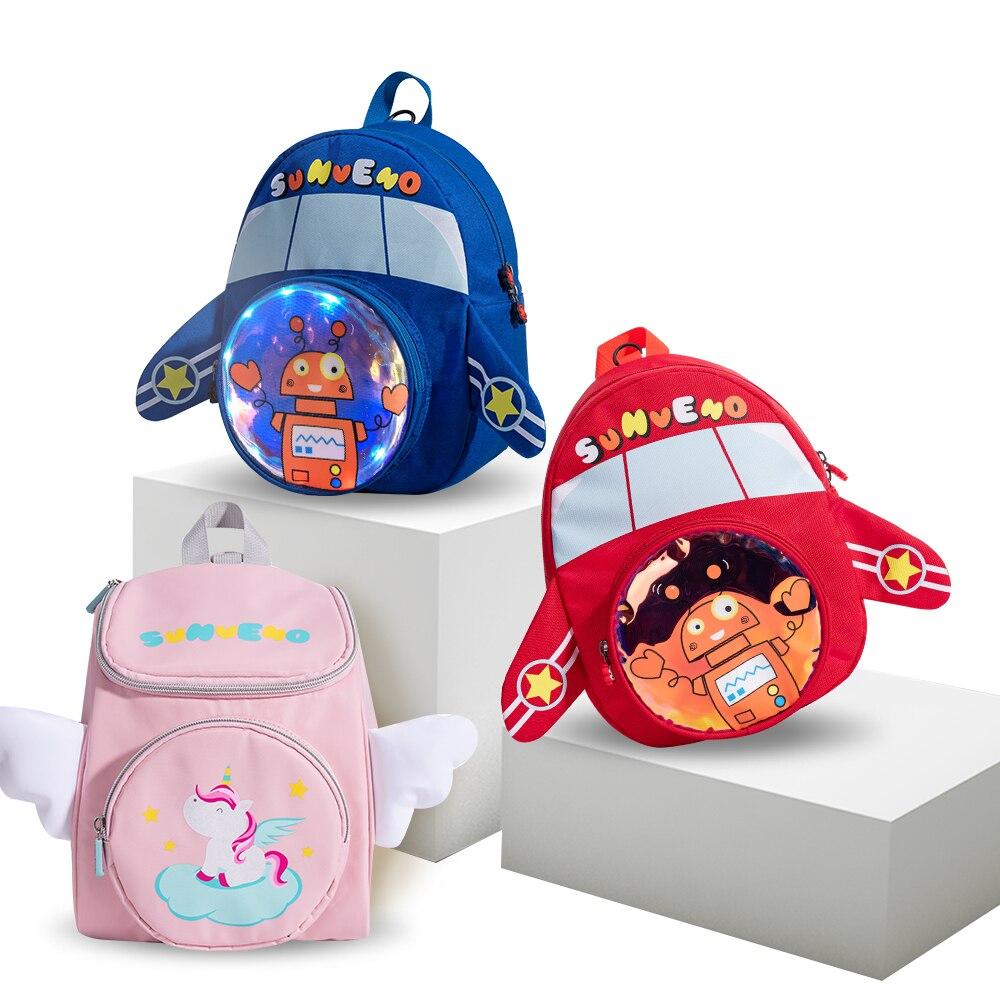 Sunveno 2020 nuevo Robot de jardín de infantes de felpa 3D mochila Linda niños niñas Infante niño bebé mochila bonita de dibujos animados niños Ba