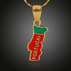 Clássico liga de titânio de cobre portugal mapa bandeira pendente colar mapas portugueses colar para mulheres masculino menina colar jóias presente