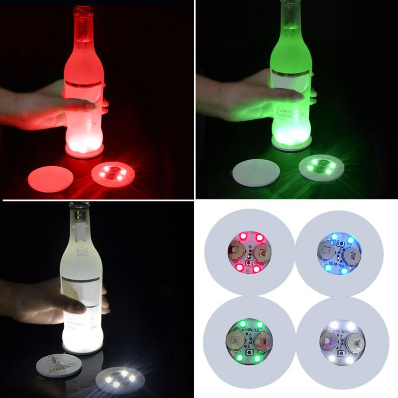 Mini posavasos brillante LED botella de luz pegatinas Festival club nocturno Bar fiesta florero Decoración LED glorificador Copa tapete 3 modos #734
