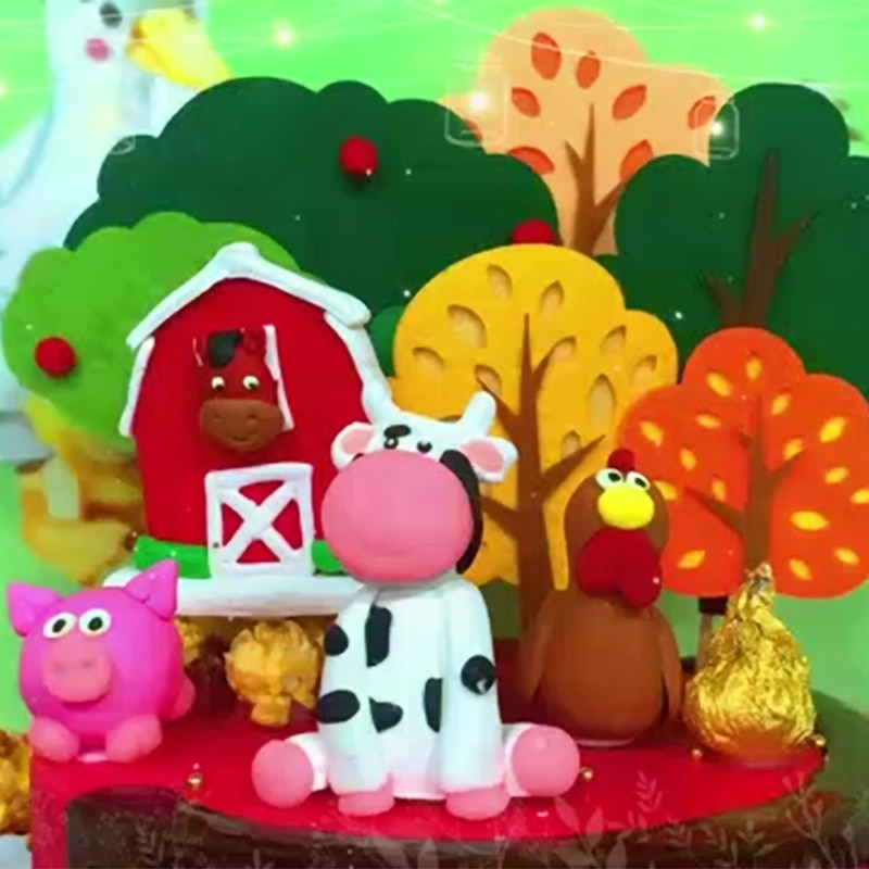 топпер с днем рождения Торт Топпер Персонализированные 8 шт. сельскохозяйственных животных торт Топпер украшения комплект на день рождения...