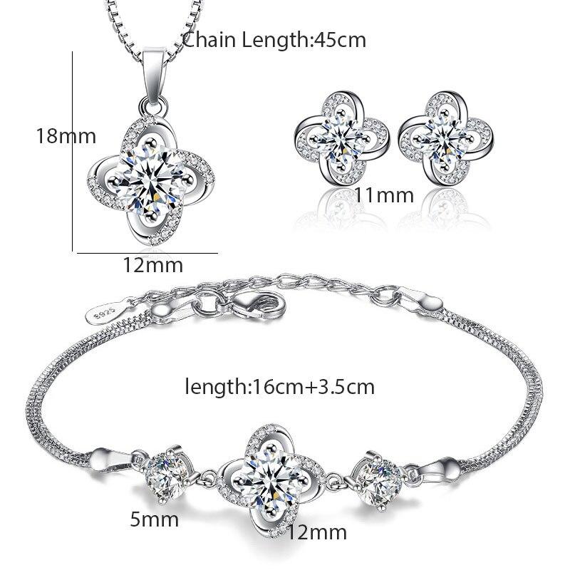 Lujosos conjuntos de joyería para boda, collar, pulsera y pendientes de plata con sello S925, Amor eterno, flor giratoria, circonita nupcial