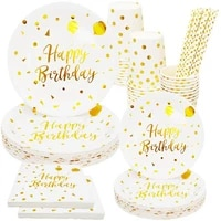 hot sale gilded birthday festival wedding party disposable tableware paper cup paper tray knife fork spoon