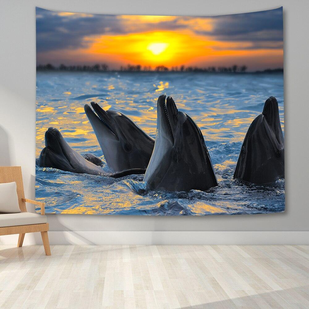 Гобелен с пейзажем настенный фон луна ночь Дельфин гобелены Wall Art Для Спальня Колледж декор комнаты в общежитии
